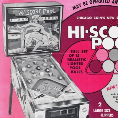 chicago coin, hi-score pool, pinball, sales, price, date, city, condition, auction, ebay, private sale, retail sale, pinball machine, pinball price