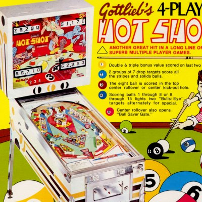 gottlieb, hot shot, pinball, sales, price, date, city, condition, auction, ebay, private sale, retail sale, pinball machine, pinball price