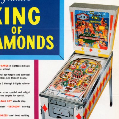 gottlieb, king of diamonds, pinball, sales, price, date, city, condition, auction, ebay, private sale, retail sale, pinball machine, pinball price