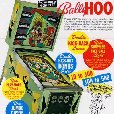 bally, bally hoo, pinball, sales, price, date, city, condition, auction, ebay, private sale, retail sale, pinball machine, pinball price