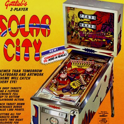 gottlieb, solar city, pinball, sales, price, date, city, condition, auction, ebay, private sale, retail sale, pinball machine, pinball price