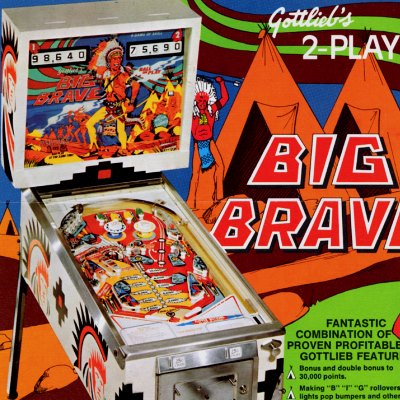 gottlieb, big brave, pinball, sales, price, date, city, condition, auction, ebay, private sale, retail sale, pinball machine, pinball price