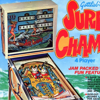 gottlieb, surf champ, pinball, sales, price, date, city, condition, auction, ebay, private sale, retail sale, pinball machine, pinball price