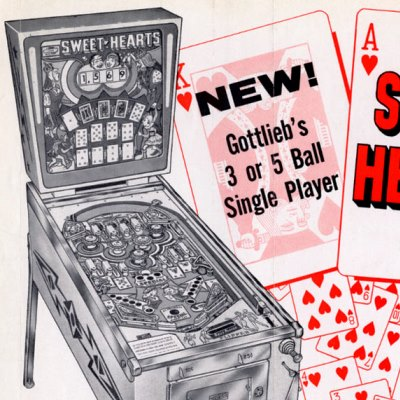 gottlieb, sweet hearts, pinball, sales, price, date, city, condition, auction, ebay, private sale, retail sale, pinball machine, pinball price