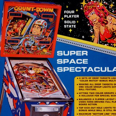 gottlieb, count-down, pinball, sales, price, date, city, condition, auction, ebay, private sale, retail sale, pinball machine, pinball price