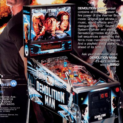 williams, demolition man, pinball, sales, price, date, city, condition, auction, ebay, private sale, retail sale, pinball machine, pinball price