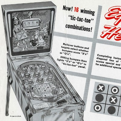 gottlieb, egg head, pinball, sales, price, date, city, condition, auction, ebay, private sale, retail sale, pinball machine, pinball price