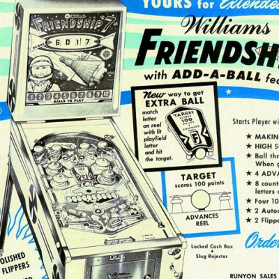 williams, friendship 7, pinball, sales, price, date, city, condition, auction, ebay, private sale, retail sale, pinball machine, pinball price